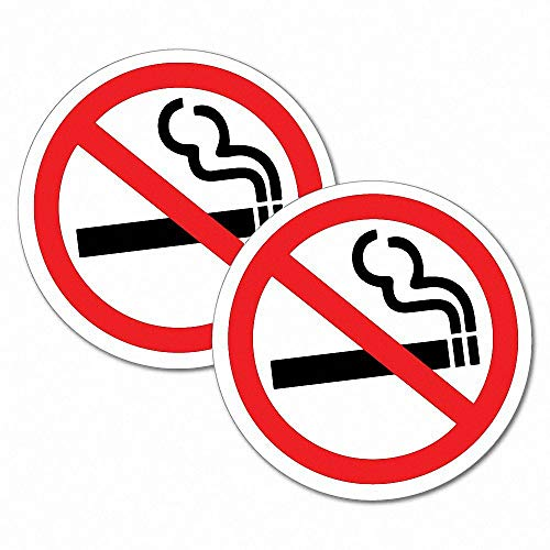 WARNING 2 x Sign Self Adhesive Removable Vinyl Sticker DO NOT SMOKE