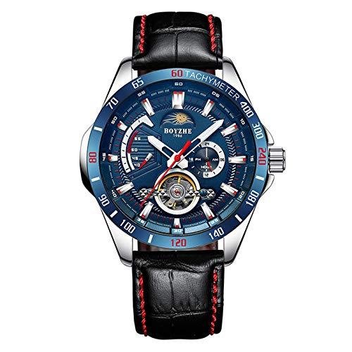 Relojes para hombres, relojes mecánicos completamente automáticos, correas de cuero, diales multifunción luminosos e impermeables, relojes deportivos de negocios para hombres de moda.