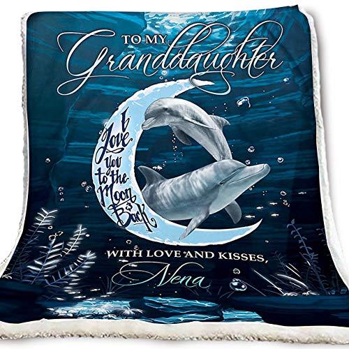 AEMAPE Decke Geschenke Dolphin Decke an Meine Enkelin Ich Liebe Dich zum Mond und zurück mit Liebe und Küssen nena