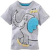 Miaouyo - Camiseta de manga corta con diseño de animal, cuello redondo de verano para niños gris elefante 1-2 Años