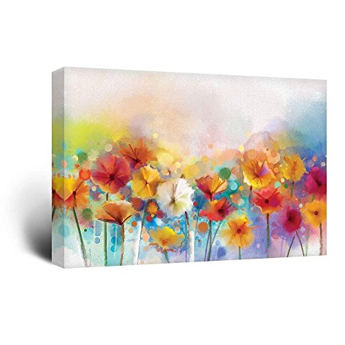 wall26 Canvas Wall Art - Watercolor Style Various Colord Flowers - Giclee Print Gallery Wrap Modern Home Art Ready to Hang - 24x36 inches