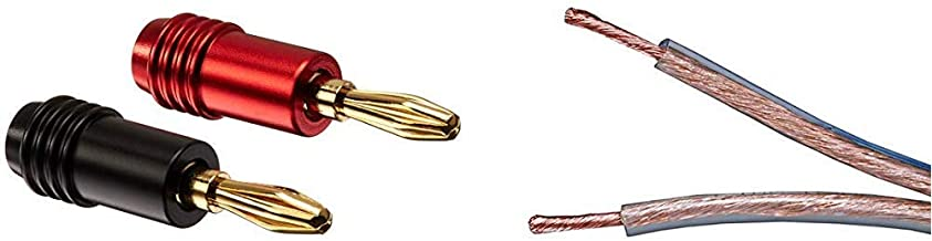 Monoprice 10 Pair Affinity Series 24k Gold Speaker Banana Plug & 102747 50-Feet 12AWG Enhanced Oxygen-Free Copper Loud Speaker Wire Cable