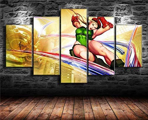 13Tdfc Cuadro sobre Lienzo 5 Piezas Impresión En Lienzo Ancho: 150Cm, Altura: 80Cm Listo para Colgar-Cammy, Street Fighter V En Un Marco