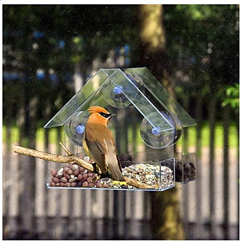 Fenster Vogelfutterhaus Transparentem Acryl Futterhaus mit Superstarken Saugnäpfen Vogelfutterspender,Vogelstation Futterhaus Vogelhäuschen Futterhaus Vogelfutterstation mit regendichtem Dach (D)