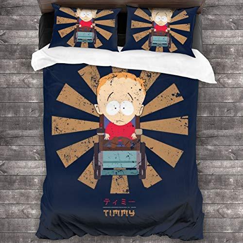 KUKHKU Timmy Retro Japonés South Park Juego de ropa de cama de 3 piezas, funda de edredón de 86 x 70 pulgadas, juego de cama de 3 piezas con 2 fundas de almohada