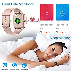 Fitness Tracker Watch with Heart Rate and Sleep Monitor - Activity Tracker Waterproof Smart Wristband Watch, Step Calorie Counter, Pedometer Android iOS Compatible for Women Men Kids