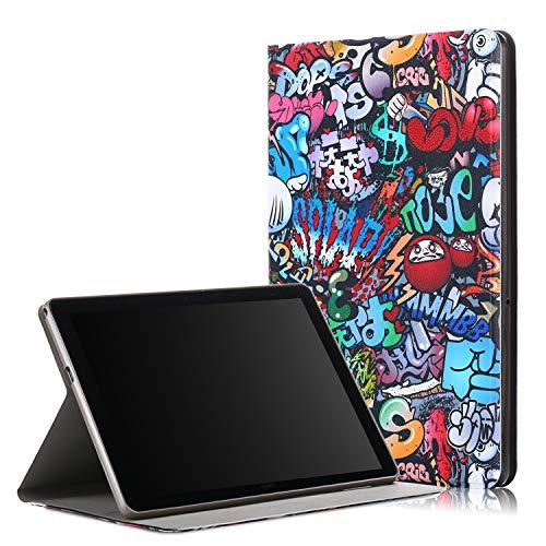 Bspring Huawei MediaPad T5 10 Hülle, Slim Ultraleicht Halten Sie vorne Schutzhülle Cover für Huawei MediaPad T5 10 10.1 Zoll 2018 Tablet PC,Graffiti