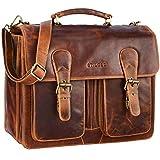STILORD 'Karl' Aktentasche Herren Lehrertasche Bürotasche Laptoptasche Umhängetasche XL Businesstasche Vintage groß aus echtem Leder, Farbe:Kara - Cognac
