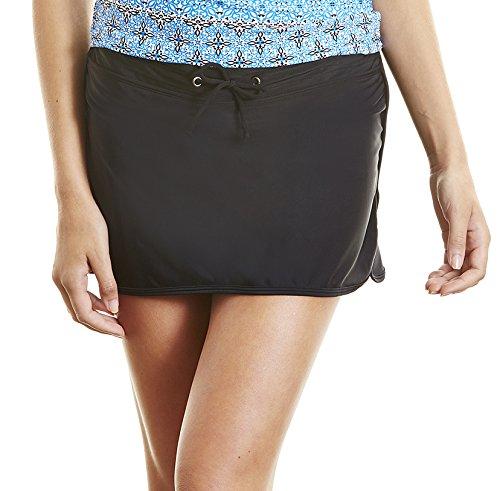 Cabana Life Women's Solid Black Skirt Bikini Bottom with Drawstring, X-Small