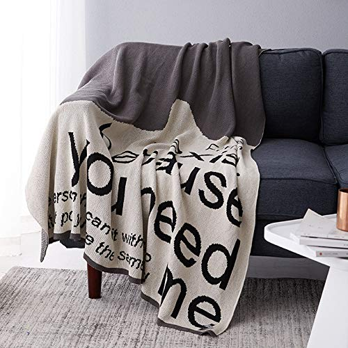QXbecky Nordic ins Wind Cotton Knitted Blanket Multifunctional line Blanket Simple Two-Seater Sofa Blanket Blanket 130x160cm