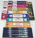 Lot de 10 bâtonnets d'encens Satya, Padmini, Goloka, Vijayshree Golden Nag, 14 paquets, parfait pour yoga, méditation, aromathérapie, purification, horloge, relaxation, incassable