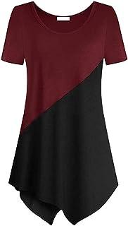 FELZ Camiseta para Mujer Señoras De Las Mujeres Camiseta Casual Manga Corta Cuello Redondo Sudadera Blusa Color SóLido Tún...