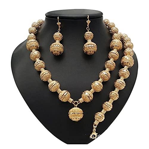 DSJTCH Dubai Gold Jewelry Conjuntos de Mujeres Bridal Joyas Collar Pendientes Moda Boda Boda Dama de Honor Juegos de joyería (Length : 45cm, Metal Color : Gold)