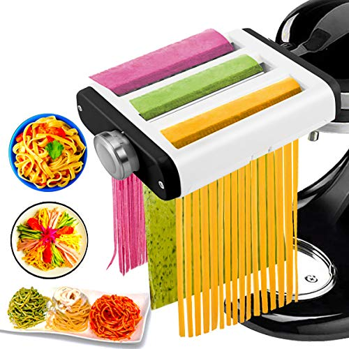 Pasta Maker Attachment for Kitchenaid Mixer 3 in 1 Set Includes Pasta Roller Spaghetti Cutter ampFettuccine Cutter Kitchenaid Accessory Washable Pasta Attachment with Cleaning Brush