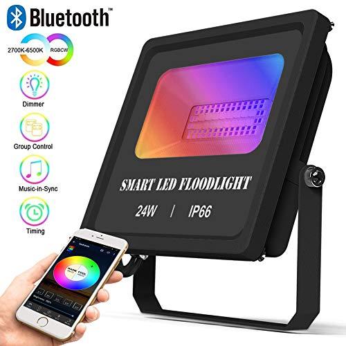 Bluetooth LED Strahler RGBW+CCT, 24W Farbig Fluter Dimmbar IP66 Wasserdicht Außenstrahler Farbwechsel LED Flutlicht 16 Millionen Farben,Sync Musik,Memoryfunktion Fluter mit Timer Für Garten Außen