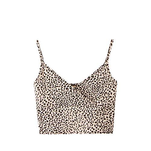 SweatyRocks Women's Casual Leopard Print Warp Surplice Front Spaghetti Strap Cami Top Multicolor S
