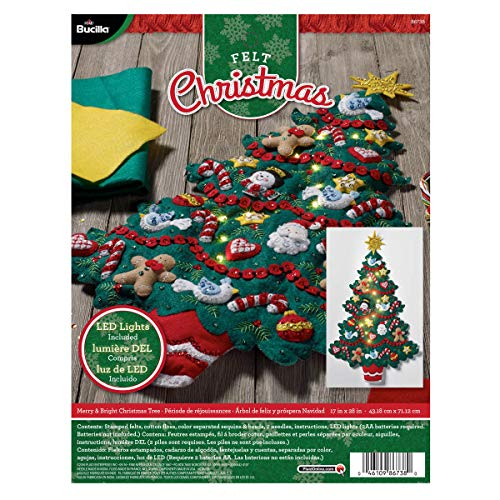 Bucilla Merry and Bright Christmas Tree Wall Hanging Felt Applique Kit, Multi-Colour, 29.84 x 22.86 x 7.87 cm
