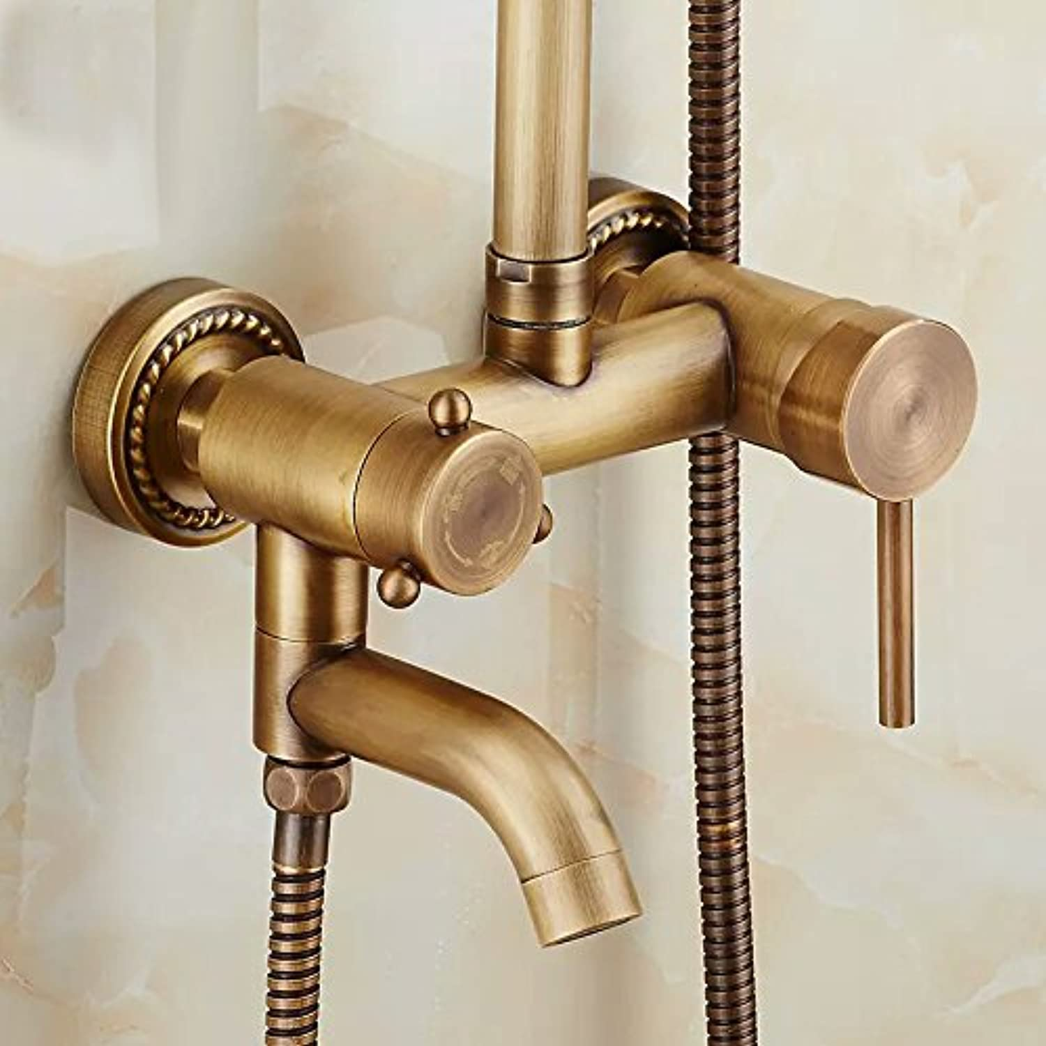 Bijjaladeva Antique Bathroom Sink Vessel Faucet Basin Mixer Tap Shower Faucet antique shower kit lift shower shower faucet antique large three-position