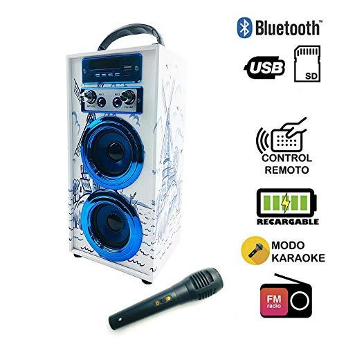 Altavoz Karaoke con Micrófono 35W Reproductor Radio inalámbrico Portátil FM MP3 Dos Entrada Mic Madera USB SD Card Recargable con Mando (Azul)