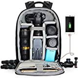 CADeN Camera Backpack Professional DSLR Bag with USB Charging Port Rain Cover, Photography Laptop Backpack for Women Men Waterproof, Camera Case Compatible for Sony Canon Nikon Lens Tripod Accessories
