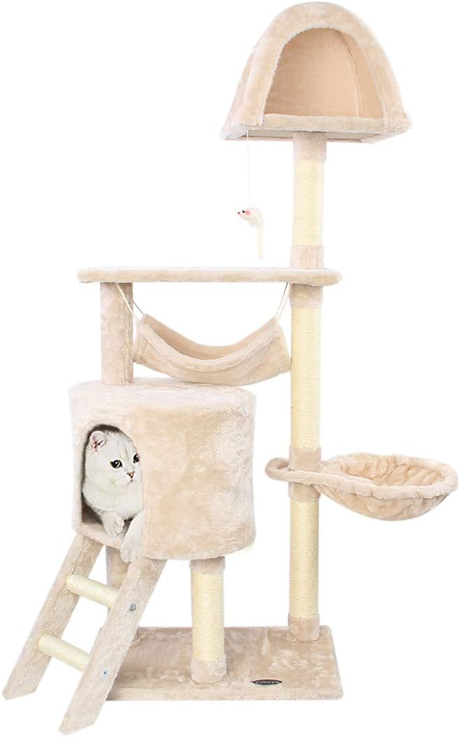 CUPETS Cat Tree Pet Furniture Cat Condo with House,Cat Scratching Post Indoor for Cats and Kittens