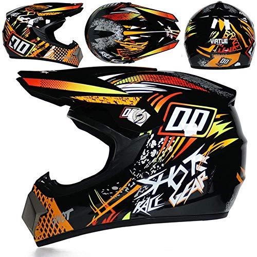 JCLDG Motocross Helm Unisex Downhill Helm Off Road Helm mit Handschuhe Maske Brille, Motorradhelm Cross Helme Schutzhelm ATV Helm für Kinder Jugend Männer Damen Sicherheit Schutz,M