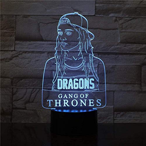 Diapositiva 3D juego de trono de luz de noche led Dragon Girl A Song of Ice and Fire 7 cambios de color decoración de la habitación lámpara de mesa de regalo para niños