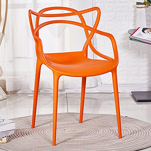 WellingA Juego sillas Comedor Modernas de 4 Piezas Silla jardín al Aire Libre, Silla Patio, sillón Oficina, apilable,Naranja