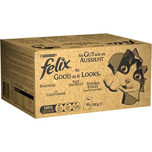 Purina Felix Le Ghiottonerie Umido Gatto con Manzo, Pollo, Merluzzo e Tonno, 80 Buste da 100 g Ciascuna