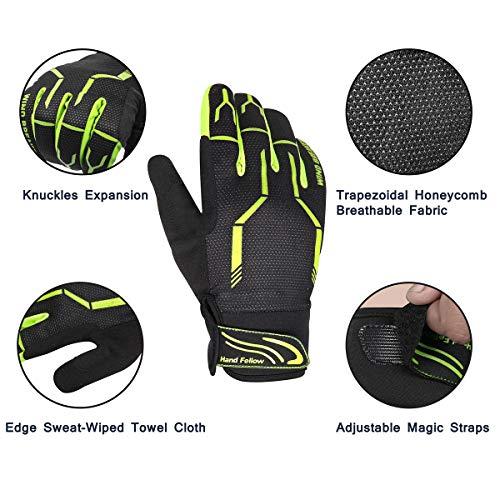 Hand Fellow Unisex Fahrradhandschuhe, Touchscreen-Handschuhe, warme Fahrradhandschuhe für Herren und Damen, Winddicht, für drinnen und draußen S gelb