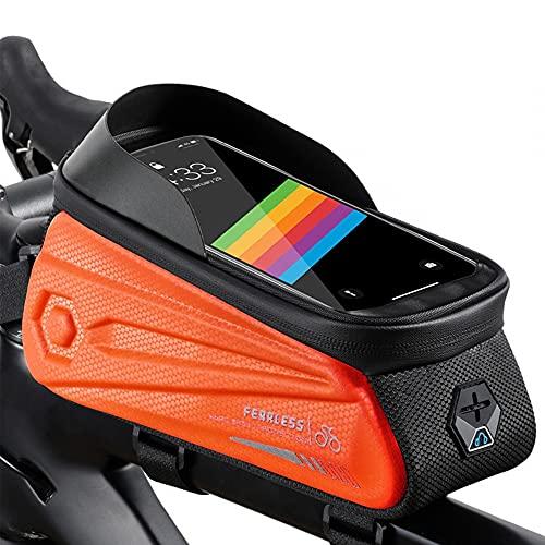 MiOYOOW Bolsa de teléfono de marco de bicicleta, bolsa de tubo superior de bicicleta de 1.7L impermeable pantalla táctil Ciclismo paquete de teléfono para MTB Road Bike