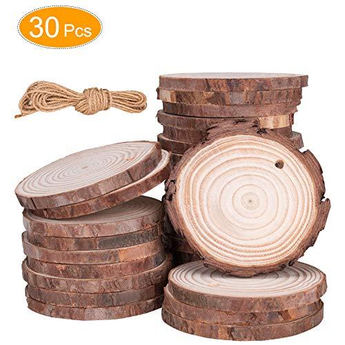 Linkax Holzscheiben 30 Stück Holz Log Scheiben 7-8cm mit Loch Unvollendete Holzkreise für DIY Handwerk Holz-Scheiben Hochzeit Mittelstücke Weihnachten Dekoration Baumscheibe