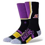 Stance Lakers Shortcut - Calcetines unisex (2 unidades), Unisex adulto, Calcetines unisex., A545A20LAC, morado, large
