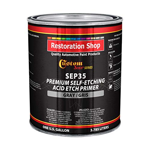 Custom Shop Premium Gray Self Etching Primer, 1 Gallon - Ready to Spray Paint, Excellent Adhesion to Bare Metal, Steel, Aluminum, Fiberglass - Use on Automotive Car Parts, OEM Industrial Coating