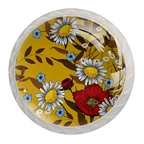 Cassetto Manopole Maniglie Maniglia Armadio Hardware Cassettiera in vetro Cassetti Porta Armadio per ufficio a casa Cucina Armadio Bellissimo retro Poppy Daisy Flower Vintage