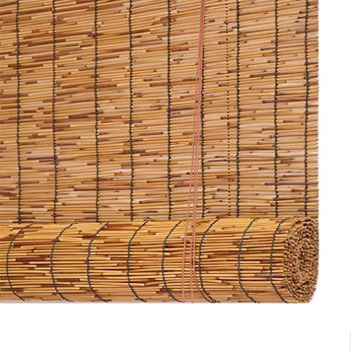 Geovne Cortina de Paja,Cortina de Bambú Impermeable,Estor Enrollable de Bambú Natural,Térmico/Transpirables/Naturales,Interiores/Exteriores, Personalizables (100x250cm/39x99in)