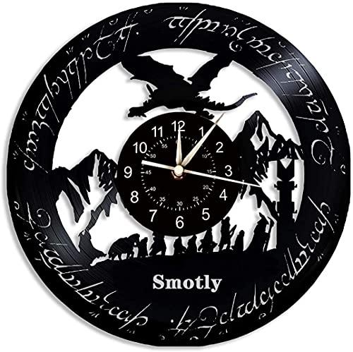 Smotly Horloge murale en vinyle, thème du Seigneur des Anneaux veilleuse colorée horloge , créativité dessin animé décoration de la maison, horloge murale numérique, cadeau (crochet cadeau) (Noir)