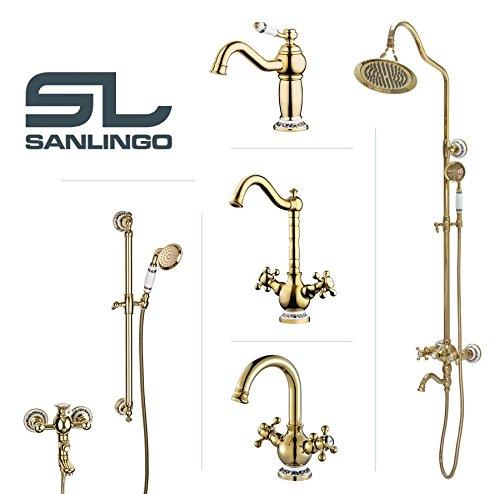 Sanlingo – Retro-Armatur, Zweigriff, schwenkbar, Gold, Serie BELE - 5
