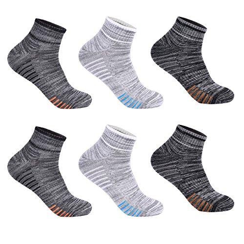 L&K 6 Paar Herren Thermo Sneaker Socken Baumwolle Sportsocken Dicke Gepolsterte-Sohle 3-Farben-Set 2105 39-42