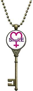 Identity Status Single Women Key Necklace Pendant Tray Embellished Chain