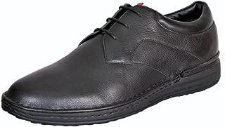 Mardi Gras Men's Black Leather Derby Shoes