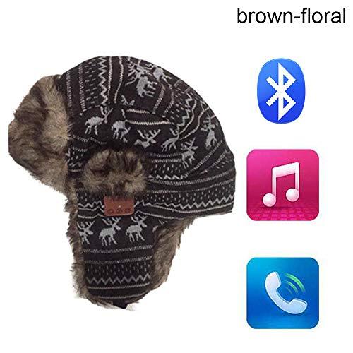 Zachte winter warme vliegeniersmuts unisex draadloze Bluetooth Smart Cap headset luidspreker microfoon hoed brown-floral