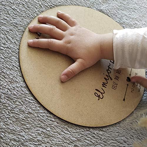 Padre Recuerdo para Colgar en Madera circular con 20cm de di/ámetro Regalo Dia del Padre Bebe Recuerdo Madera Huella o Dibujo Beb/é D/ía del Padre Regalo para Pap/á Primerizo
