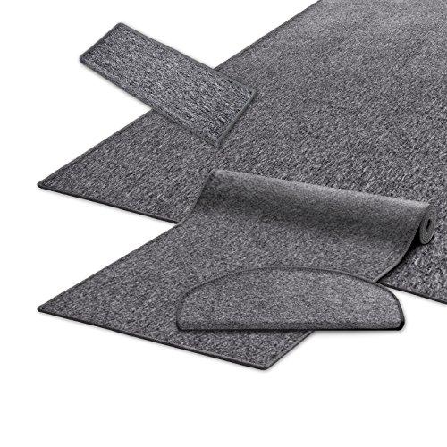 casa pura® Teppich Läufer in zahlreichen Größen | grau | GUT-Siegel | Qualitätsprodukt aus Deutschland | kombinierbar mit Stufenmatten (Größe: 80x300 cm)