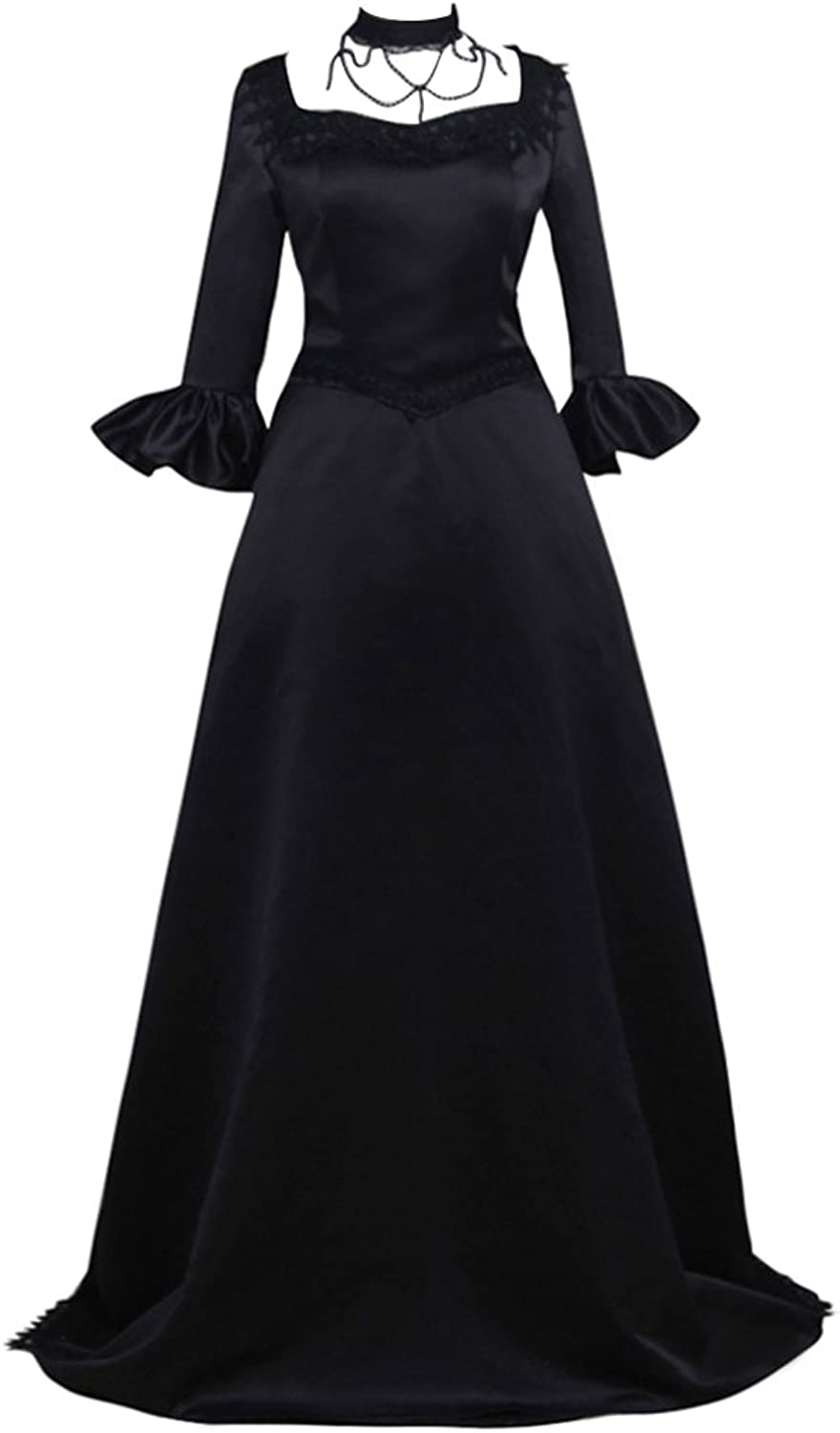 COUCOU Age Vintage Victorian Dress Rococo Wedding Ball Gown Floor Length Black