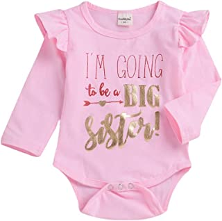 HAPPYMA Infant Baby Girls Romper Big Sister Letters Bodysuit Ruffle Sleeve Jumpsuit Onesie Clothes Outfits