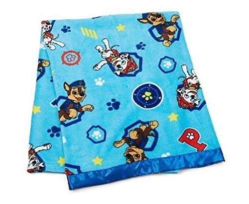 """Paw Patrol 40"""" X 50"""" Coral Plush Toddler Blanklet with Satin Trim, Bule/Multicolor"""