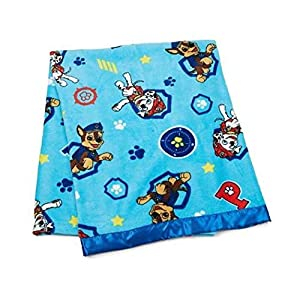Paw Patrol 40″ X 50″ Coral Plush Toddler Blanklet with Satin Trim, Bule/Multicolor
