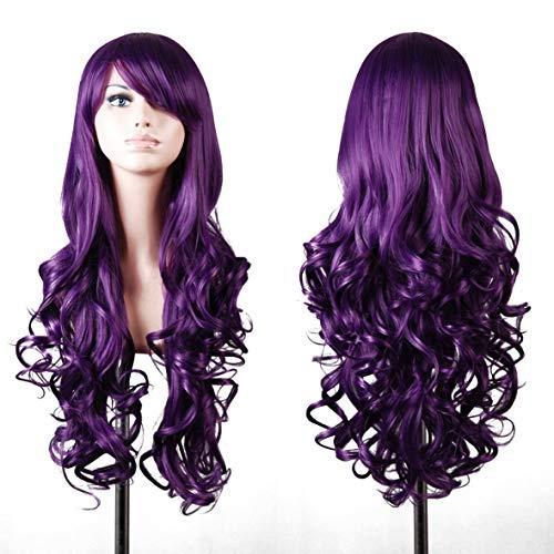 Parrucca di capelli lunghi ondulati, da utilizzare tutti i giorni, per i cosplay, per i manichini, per Carnevale oppure per le feste a tema, lila, Modell 1