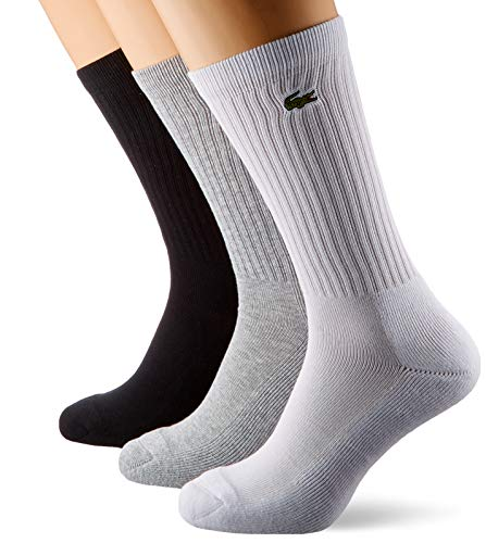 Lacoste Sport Herren RA7621 Socken, Grau (Argent Chine/Blanc-Noir), 41/42 (Herstellergröße: 6) (3er Pack)